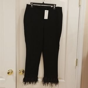 Chicos knit pants with feather fringe hem